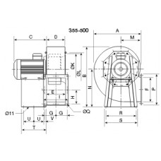 CHMT/4- 400/165-4 Ventilator centrifugal 400 grd