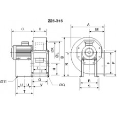 CHMT/4- 315/130-2,2 Ventilator centrifugal 400 grd