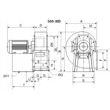 CRMT/4- 355/145 3Kw Ventilator centrifugal 400grd